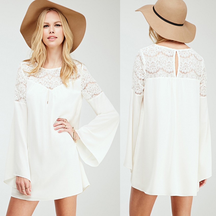 Long white casual dresses women