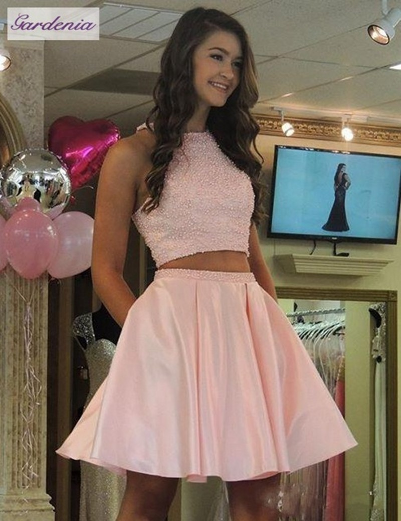 80407aa77bb4 Light Pink Short Prom Dresses Two Pieces Homecoming Dress Pearls Beading Crop  Top Girls Graduation Gowns